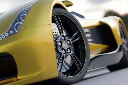 Roda esportiva carro amarelo