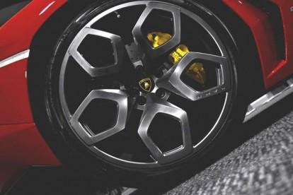 Roda esportiva Lamborghini vermelha