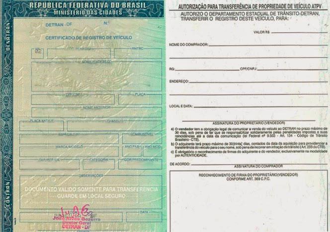 CRV: Certificado de Registro de Veículo - DUT